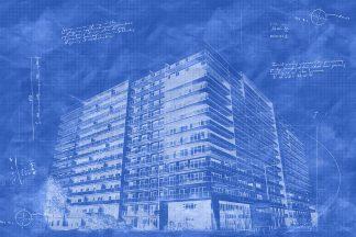 Large Condominium Building Sketch Blueprint Image